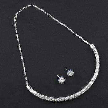 Silvershine Silverplated White Diamond Studded Designer Partywear Necklace Set For Women Jewellery