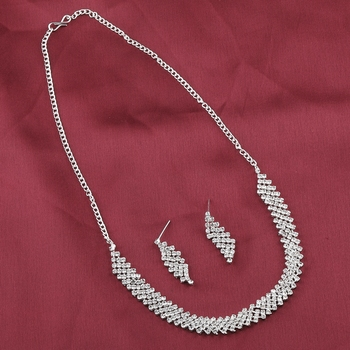 Silvershine Silverplated Designer Diamond Studded Partywear Necklace For Women Jewellery