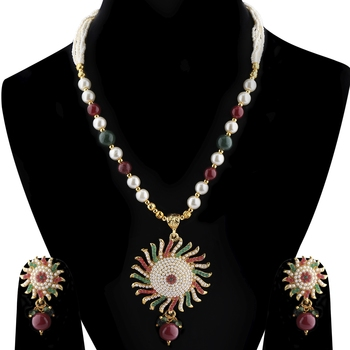 Silvershine Exclusive Designer Multicolour Stone Studded Pearl Mala Set For Women Jewellery