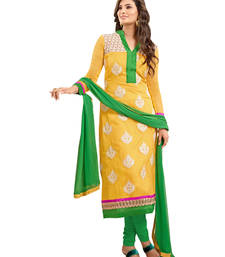 Buy Green embroidered georgette semi stitched salwar with dupatta cotton-salwar-kameez online