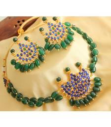 Beautiful Gold Tone Blue Green Moon Choker Necklace Set