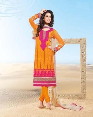 Orange self design georgette salwar