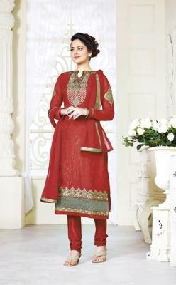 Red self design georgette salwar