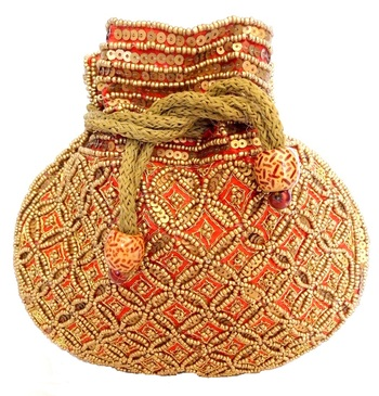 Beaded Drawstring Potli/Batwa  Red