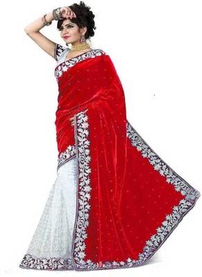 Red Brasso Velvet Saree With Blouse