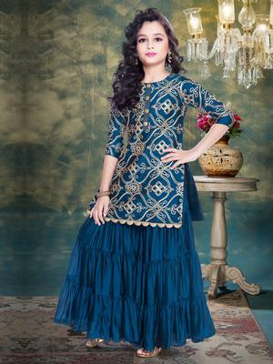 Rama Blue Ribbion Embroidery Heavy Chinon Sharara Style ReadyMade Salwar Suit For Gir;s