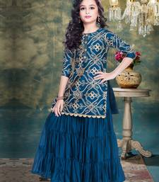Rama Blue Ribbion Embroidery Heavy Chinon Sharara Style ReadyMade Salwar Suit For Gir;s