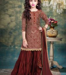 Maroon Ribbion Embroidery Heavy Chinon Sharara Style ReadyMade Salwar Suit For Gir;s