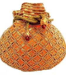 Buy Beaded Drawstring Potli/Batwa- Orange potli-bag online