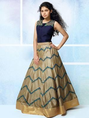 Navy Blue Zorba Silk Embroidery Wedding Wear Lehenga Choli For Girls