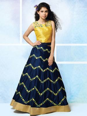 MustardY Yellow Zorba Silk Embroidery Wedding Wear Lehenga Choli For Girls