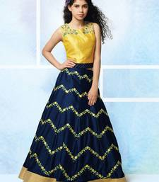MustardY Yellow Zorba Silk Embroidery Wedding Wear Lehenga Choli For Girls
