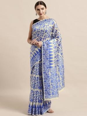 Cream woven cotton poly saree with blouse