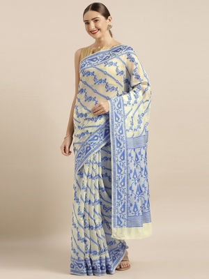 Cream woven cotton poly saree with blouse