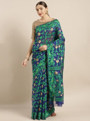 Blue woven cotton poly saree with blouse