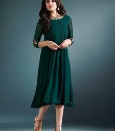 Green Georgette Party Wear / Casual Wear Kurti