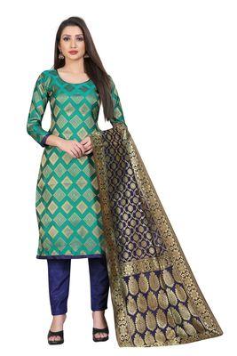 Turquoise jacquard jacquard salwar