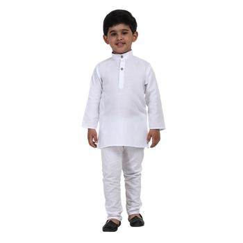 White Plain Cotton Boys Kurta Pyjama