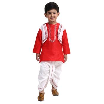Red Plain Cotton Boys Dhoti Kurta