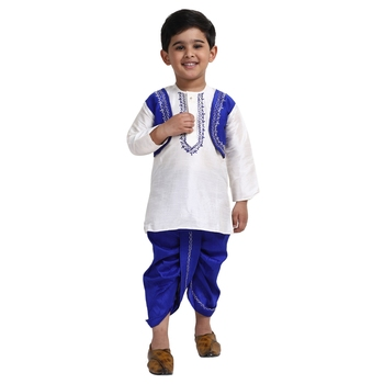 White Plain Cotton Boys Dhoti Kurta