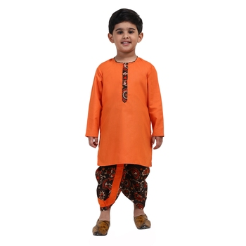 Orange Printed Cotton Boys Dhoti Kurta