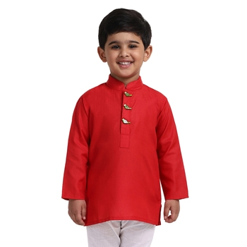 Red Plain Cotton Boys Kurta