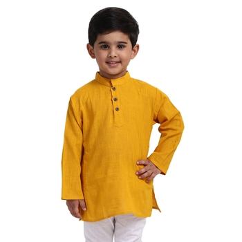 Yellow Plain Cotton Boys Kurta