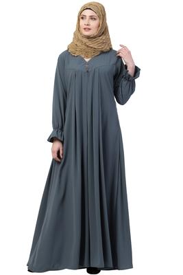 Grey Color A Pleated Abaya