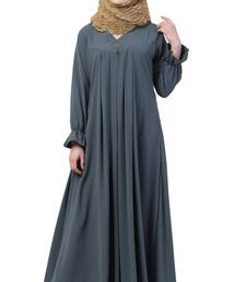 Grey Color A Pleated Abaya