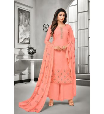 Pink Maslin Silk Embroidered Women's Unstitched Palazzo Suit