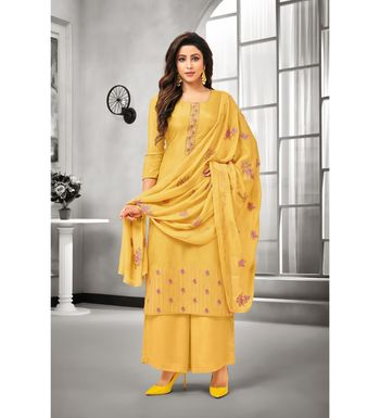 Yellow Maslin Silk Embroidered Women's Unstitched Palazzo Suit