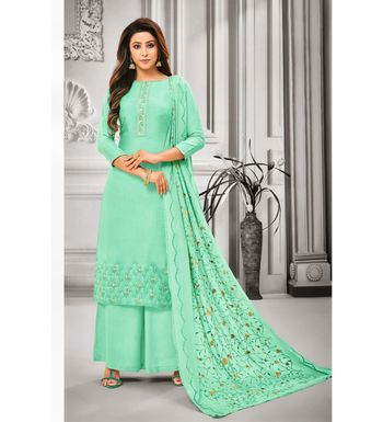 Sea Green Maslin Silk Embroidered Women's Unstitched Palazzo Suit