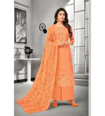 Orange Maslin Silk Embroidered Women's Unstitched Palazzo Suit