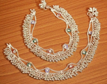 Silver Zircon       Anklets