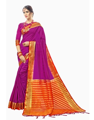 Purple woven chanderi saree with blouse