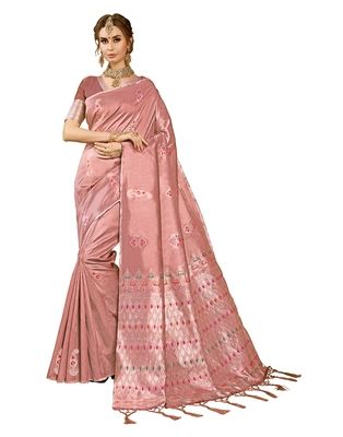 Brown woven kanchipuram silk saree with blouse
