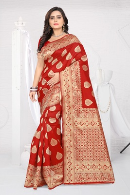 Red Printed Jacquard Saree With Blouse