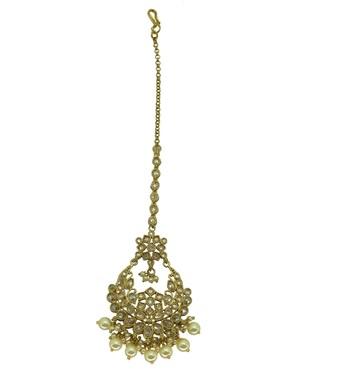 Gold cubic zirconia maang-tikka