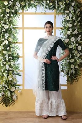Dark-Green Embroidered Cotton Salwar