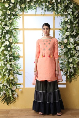 Peach Embroidered Cotton Salwar