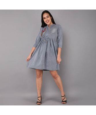silver Denim long top with  solid work