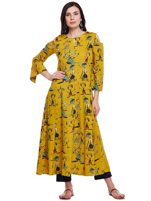 Women Mustard Cotton Printed Maxi Dress