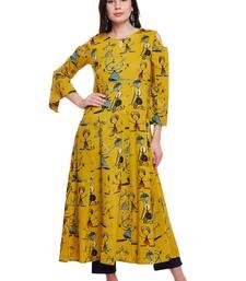 Women Mustard Cotton Printed Maxi Dress