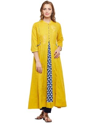 Women Yellow Slub Embroidered Maxi Dress
