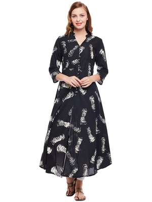 Women Black Cotton Printed Maxi Dress