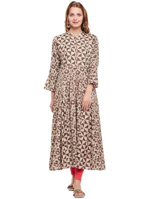 Women Beige & Brown Cotton Printed Maxi Dress