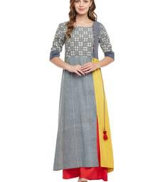 Women Grey & Yellow Rayon Printed Maxi Dress