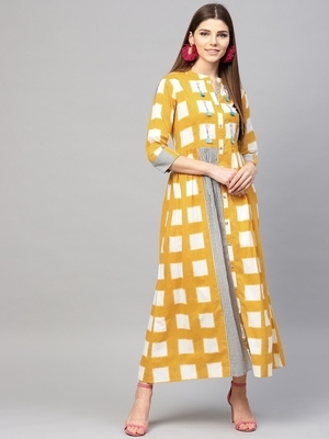 Women Mustard Cotton Embroidered Maxi Dress