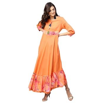 Women Orange Rayon Printed Maxi Dress