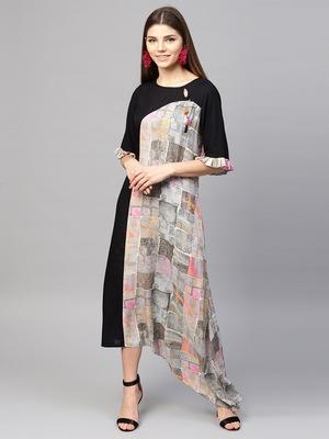 Women Black Rayon Printed Maxi Dress